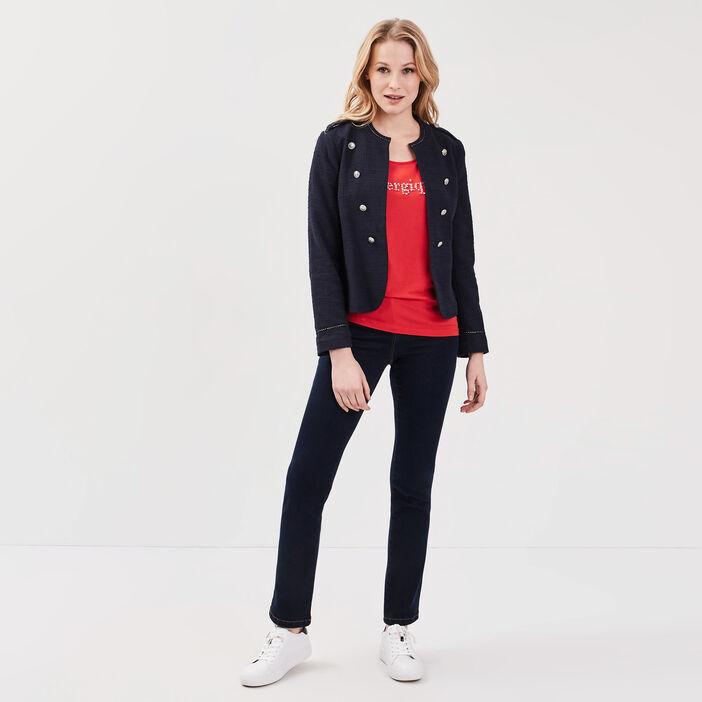 T-shirt manches courtes rouge fluo femme