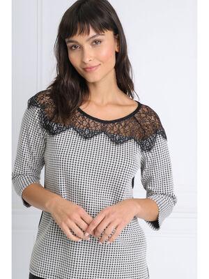 T shirt manches 34 dentelle noir femme