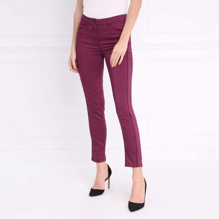 Pantalon taille basculée irisé prune femme