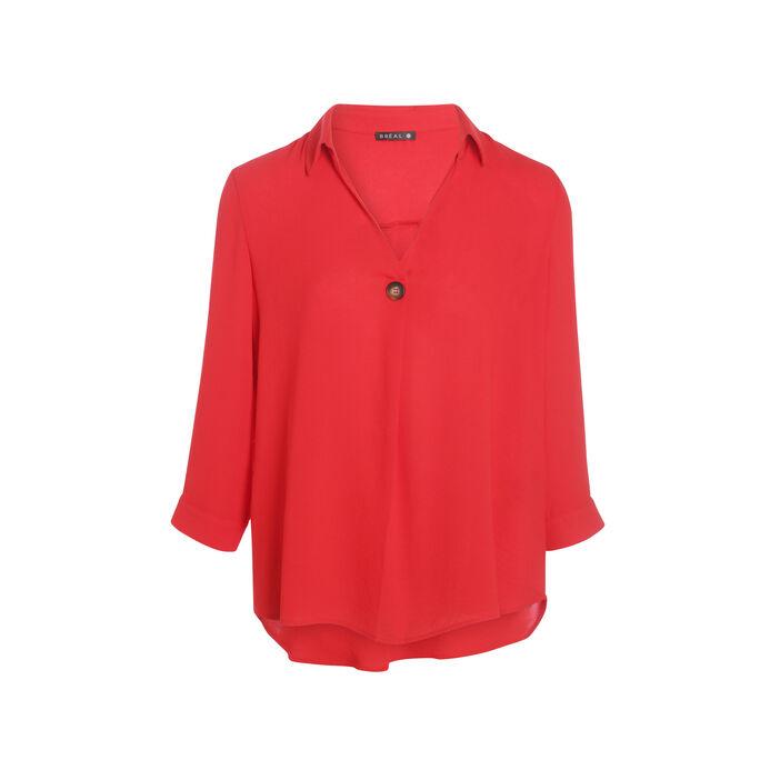 Blouse manches 3/4 boutonnées rouge femme