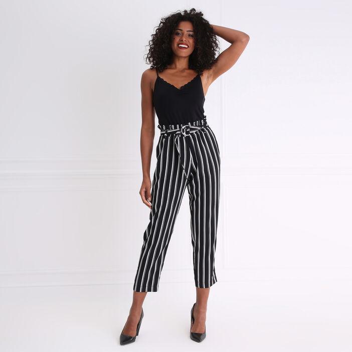 Pantalon rayé fluide taille haute noir femme