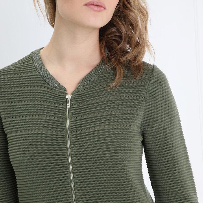 Cardigan droit maille ottoman vert kaki femme