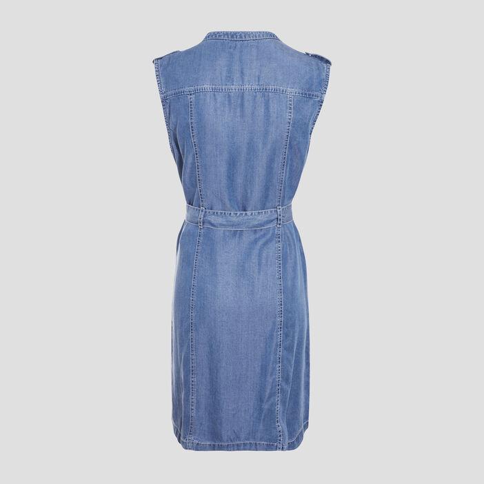 Robe droite zippée denim double stone femme