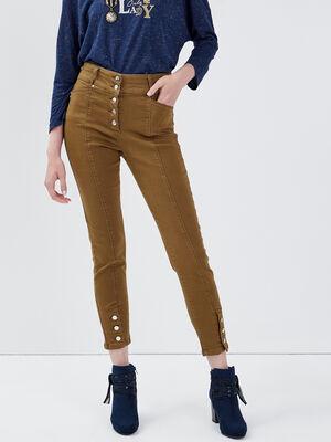 Pantalon ajuste taille haute vert kaki femme
