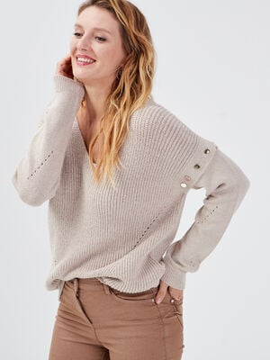 Pull manches longues amovibles beige femme