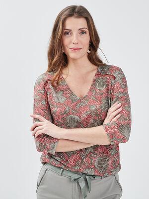 T shirt manches 34 terracotta femme