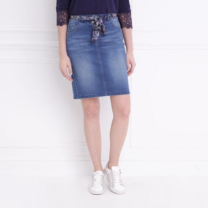 Jupe en jean ceinture bandana denim stone femme