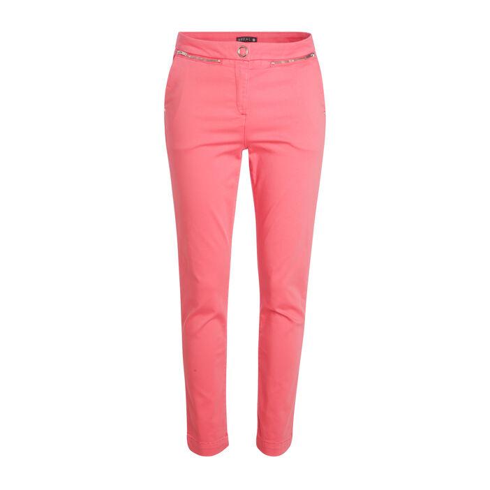 Pantalon taille standard orange corail femme