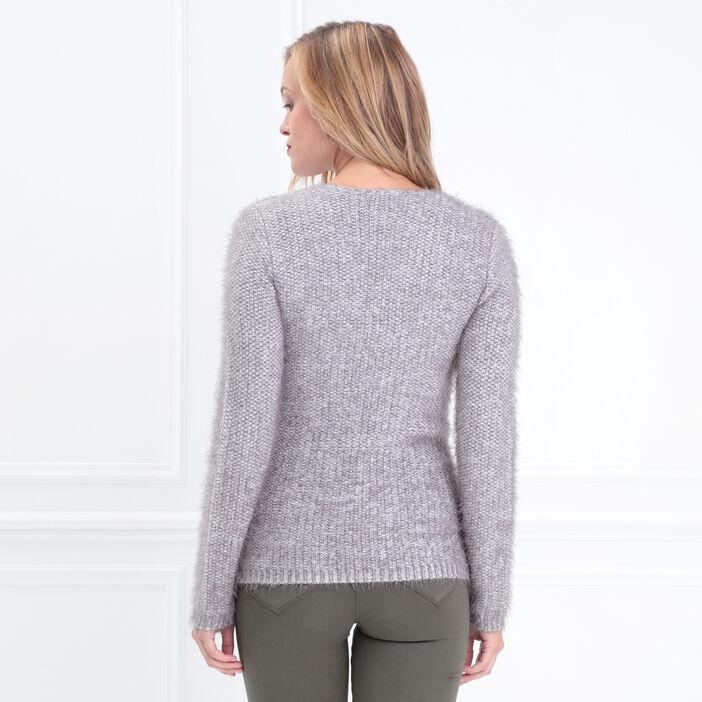 Pull manches longues zippé gris clair femme