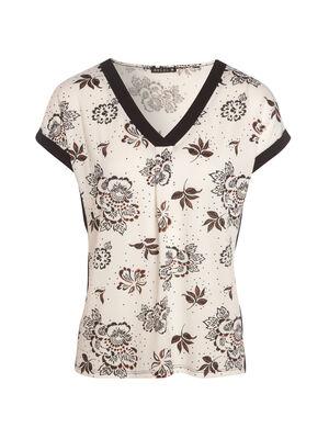 T shirt imprime manches courtes blanc femme