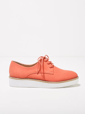 Derbies plates texturees orange corail femme