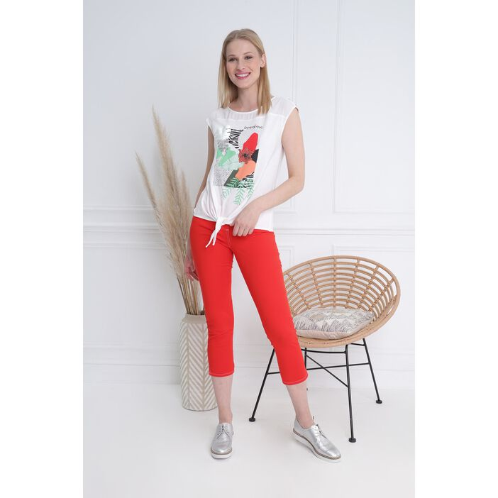 Pantacourt ajusté taille haute rouge femme