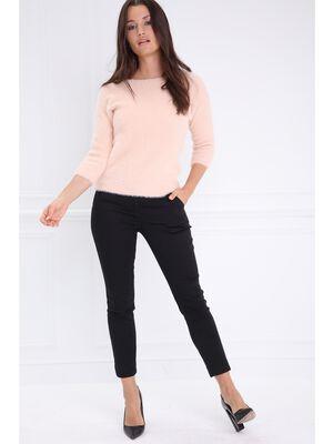 Pantalon taille standard ajuste strass noir femme
