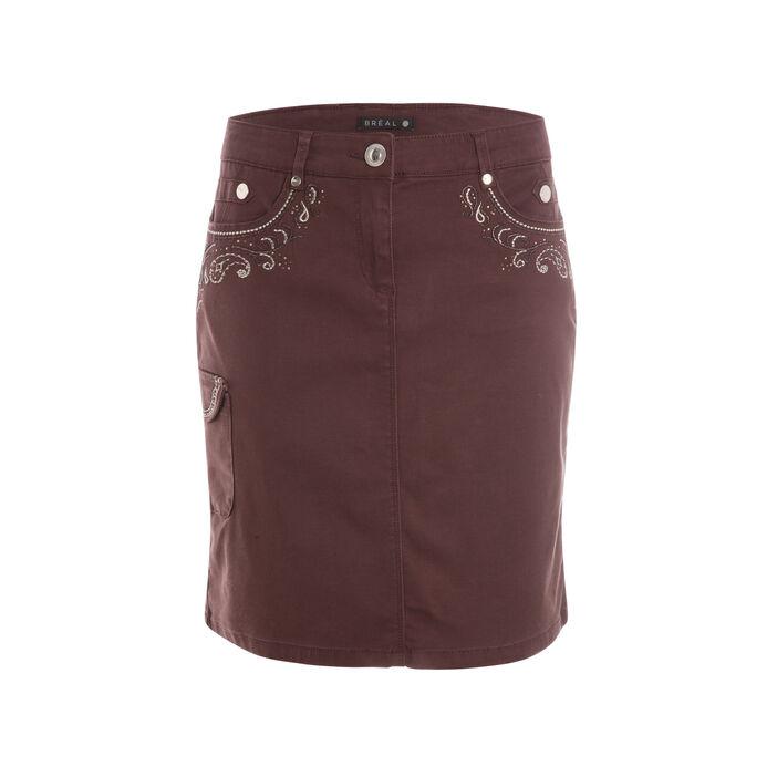 Jupe droite multi-poches marron foncé femme
