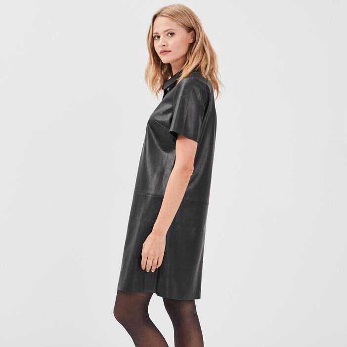 Robe Droite Col A Revers Noir Femme Breal