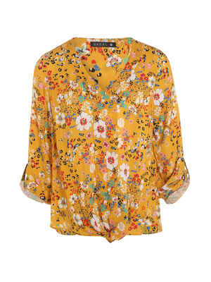 Blouse manches 34 nouee jaune femme