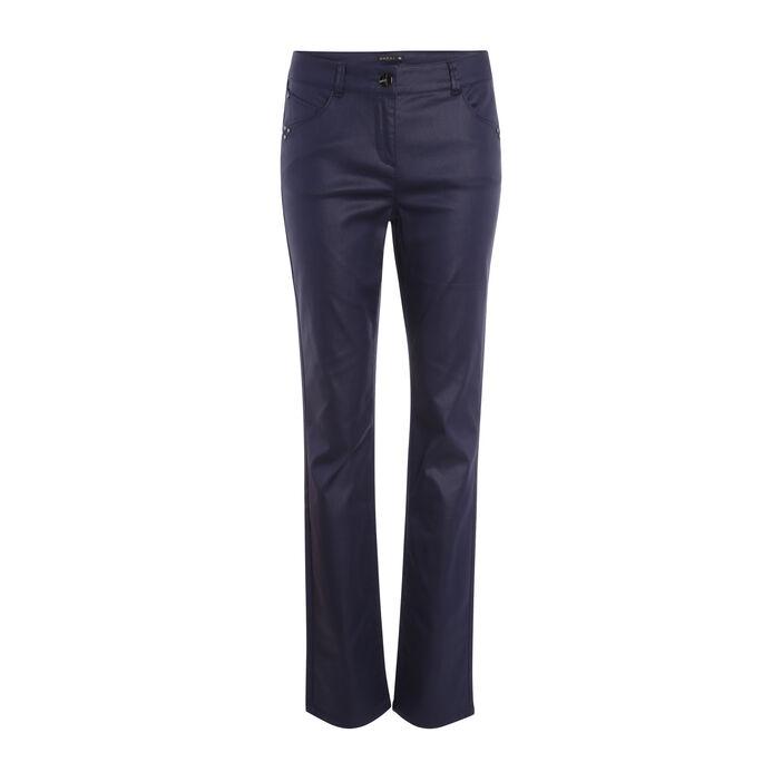 Pantalon droit enduit taille basculée bleu foncé femme