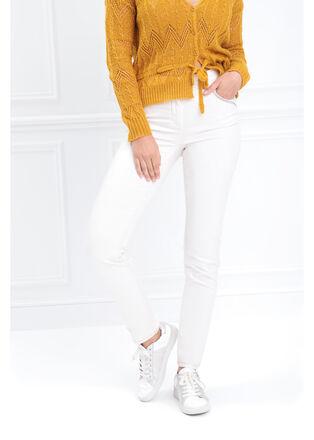 Pantalon ajuste 5 poches creme femme