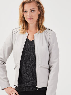 Veste droite zippee gris femme