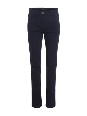 Pantalon en satin bleu fonce femme