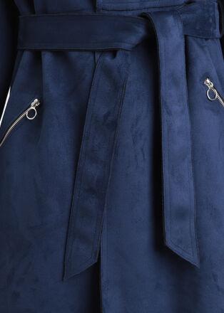 Trench droit ceinture bleu marine femme