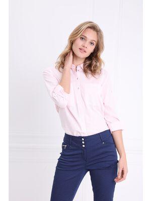 Chemise manches longues coton rose poudree femme