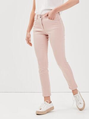 Pantalon ajuste taille basculee vieux rose femme