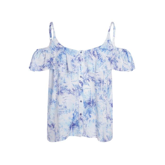 T-shirt à bretelles volanté bleu femme