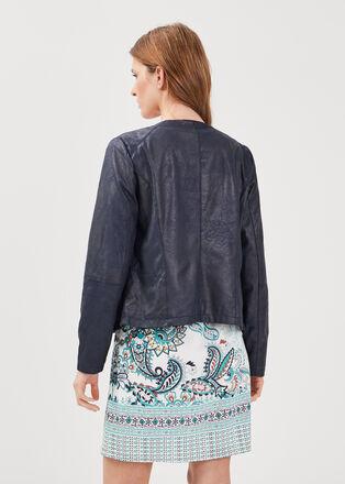 Veste droite zippee bleu marine femme