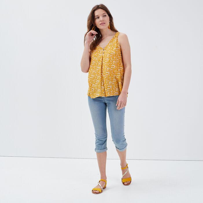 Blouse bretelles larges jaune foncé femme