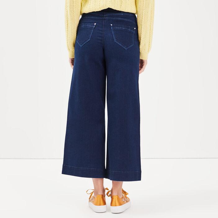 Jeans jupe culotte à boucle denim brut femme