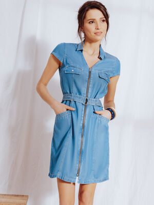 Robe denim en lyocell denim double stone femme