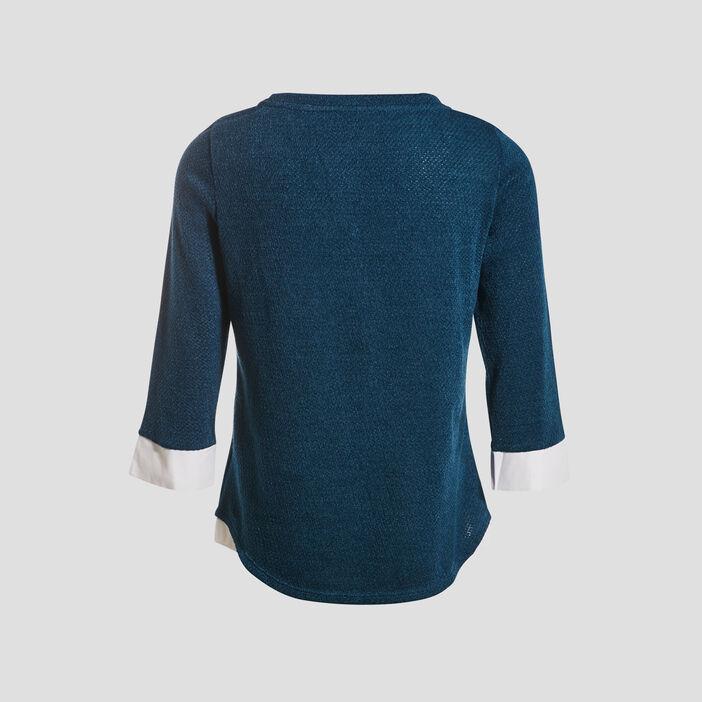 T-shirt manches 3/4 2-en-1 bleu pétrole femme