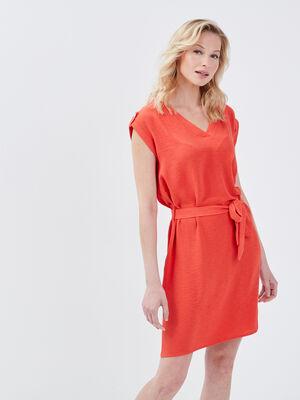 Robe droite ceinturee rouge femme