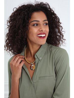 Collier ras de cou cordon et pendentif jaune or femme