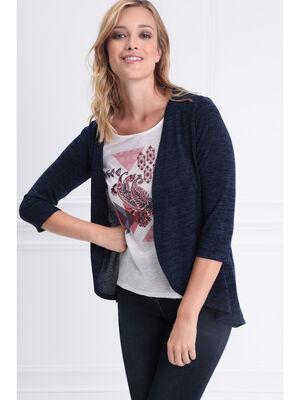 T shirt manches 34 2 en 1 bleu fonce femme
