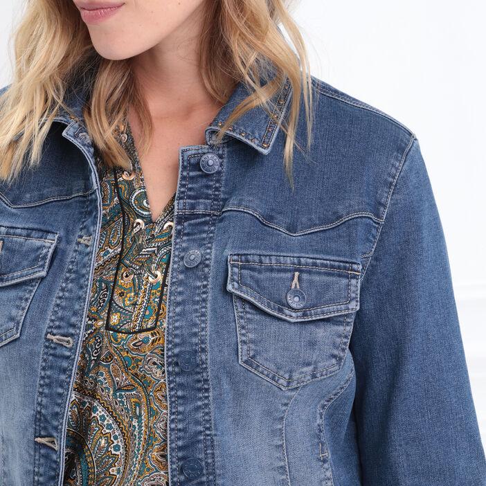 Veste cintrée en jean denim brut femme