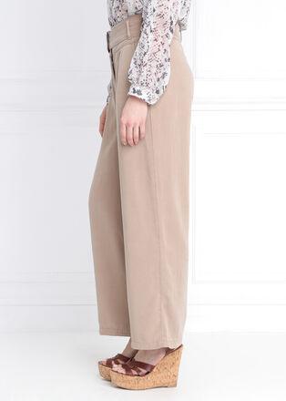 Pantalon large taille haute beige femme