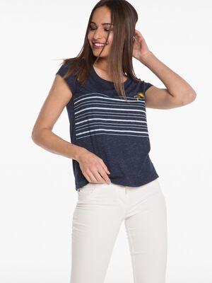 T shirt imprime bleu femme
