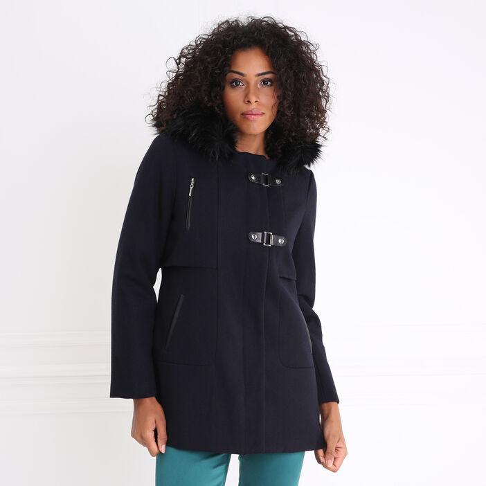 Manteau avec capuche interieur matelassé gris foncé femme