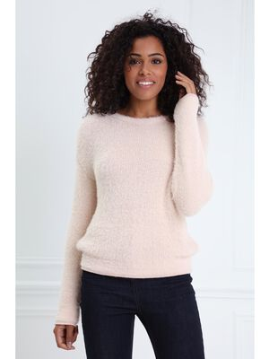 Pull col rond maille duveteuse rose poudree femme