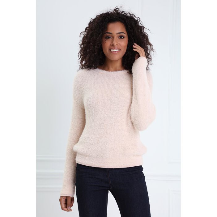 Pull col rond maille duveteuse rose poudrée femme