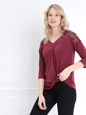 T shirt manches 34 strass bordeaux femme