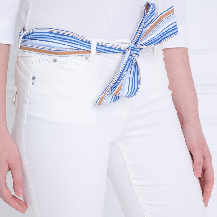 Pantalon taille basculée 7/8 ecru femme