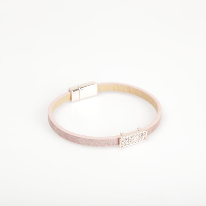Bracelet lien avec strass rose poudrée femme