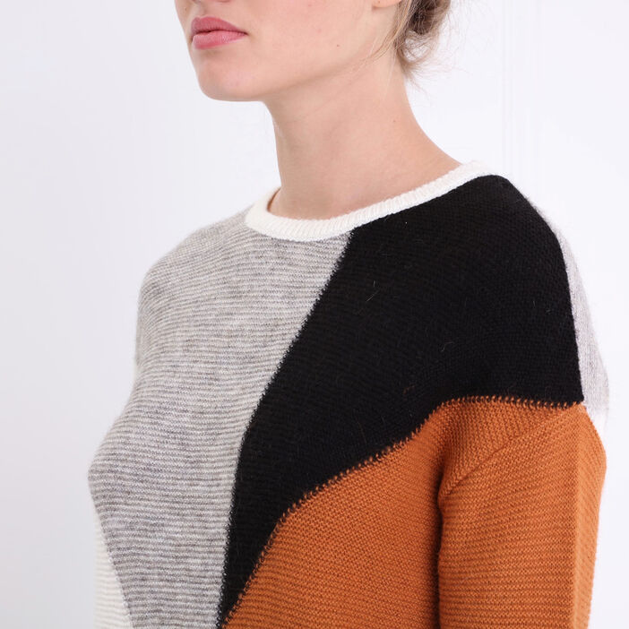 Pull manches longues col rond camel femme