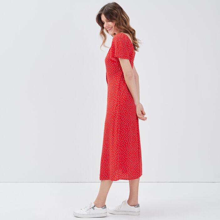 Robe longue évasée fluide rouge femme