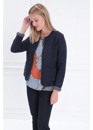 Veste ajustee courte zippee bleu marine femme