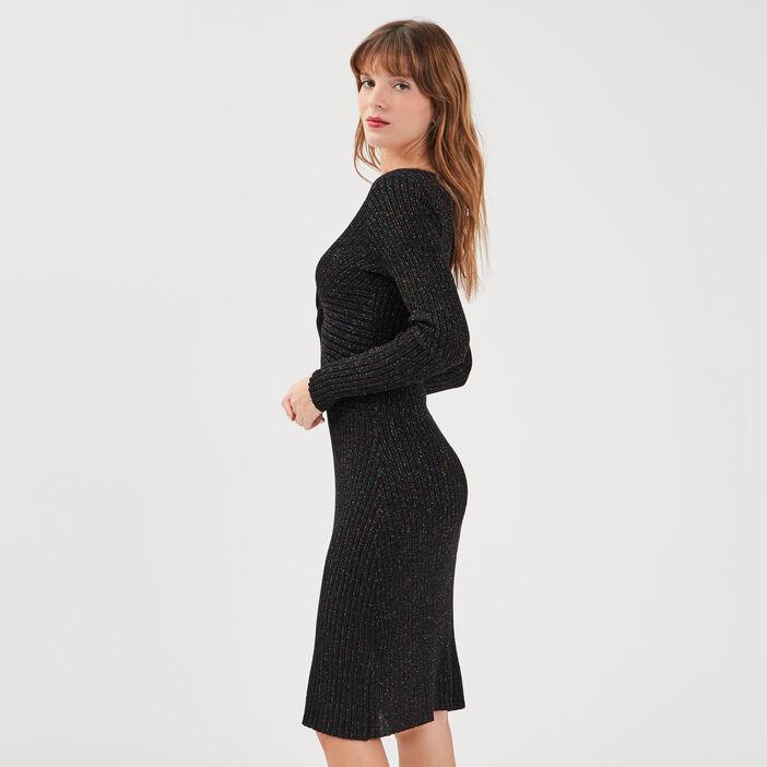 Robe pull ajustée noir femme
