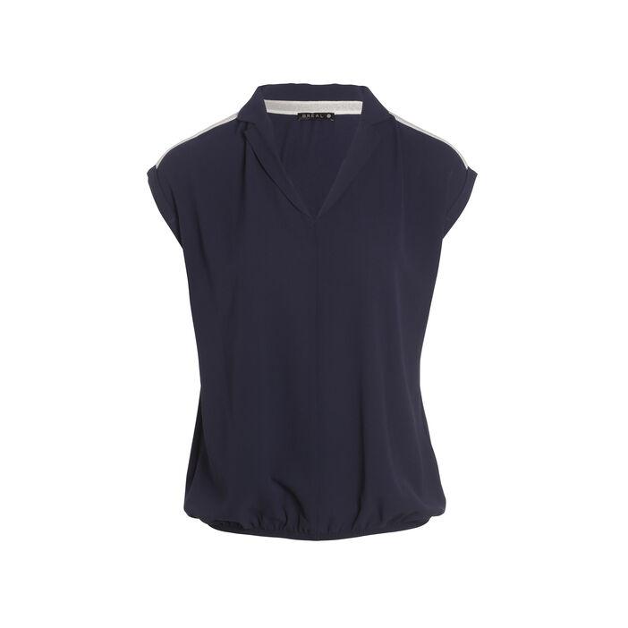 T-shirt sans manches col chemise bleu foncé femme